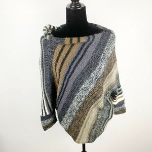 Wooden Ships Earthy Color Striped Poncho Sweater